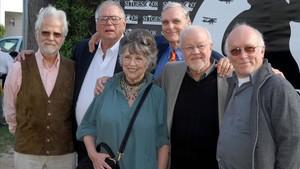 Jan Harlan, Gary Lockwood, Cristiane Kubrick, Keir Dullea, Douglas Trumbull y Colin Arthur, en el homenaje a '2001, una odisea del espacio', del 2008