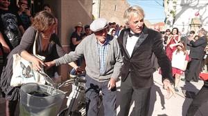 Jesús Calleja, en la inaguración del cine Kursaal,en el programa Volando voy, sobre la Serra del Montsec.