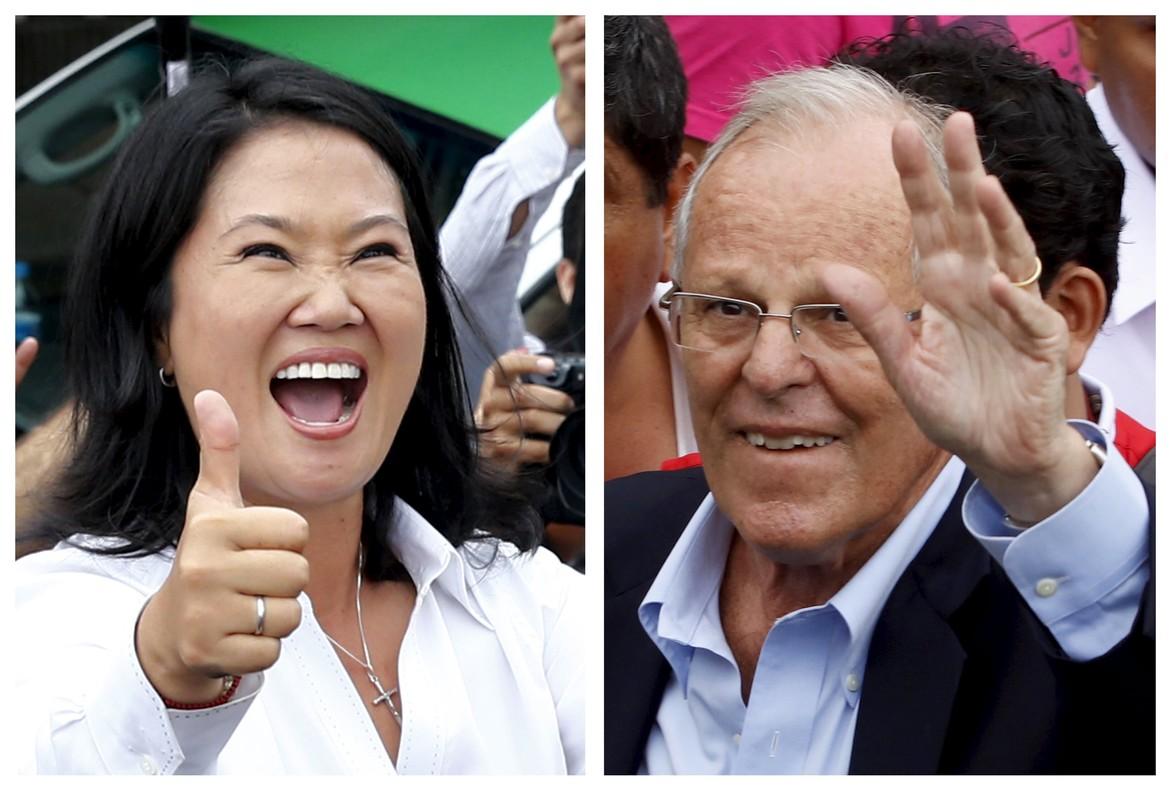 Keiko Fujimori (izquierda) y Pedro Pablo Kuczynski, candidatos a la presidencia de Perú.