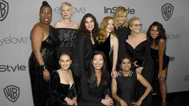 L'alfombra vermella dels Globus d'Or es va tenyir completament de negre, reflex del moviment 'Me too', que té l'objectiu de denunciar l'assetjament sexual a les dones a Hollywood.