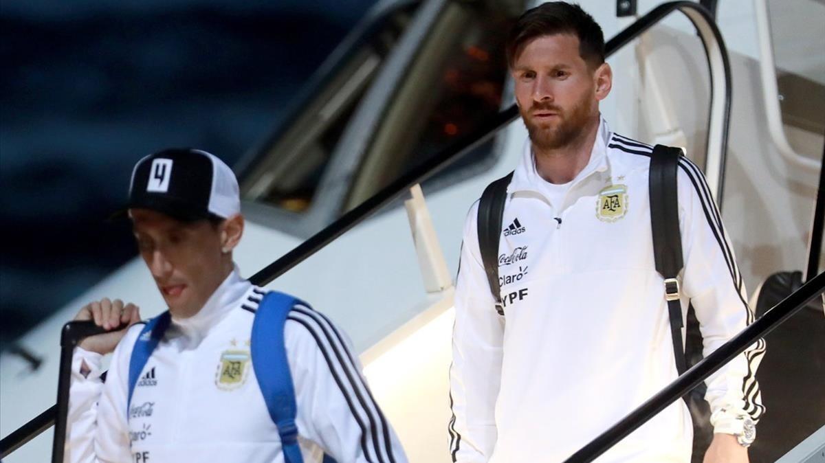 Los argentinos, con Messi a la cabeza, en chándal.