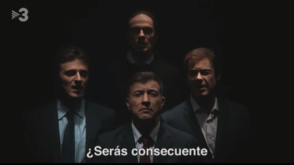 Los dobles de Rivera, Sánchez, Iglesias y Casado, en el gag de 'Polònia'.