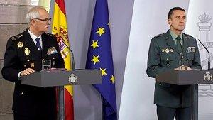 Los portavoces de Policía y Guardia Civil, en la rueda de prensa diaria del Comité Técnico de seguimiento de la epidemia.