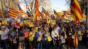 Manifestación independentista en Madrid, el pasado 16 de marzo.