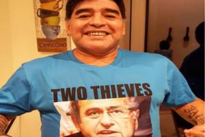 Maradona diu lladres a Platini i Blatter