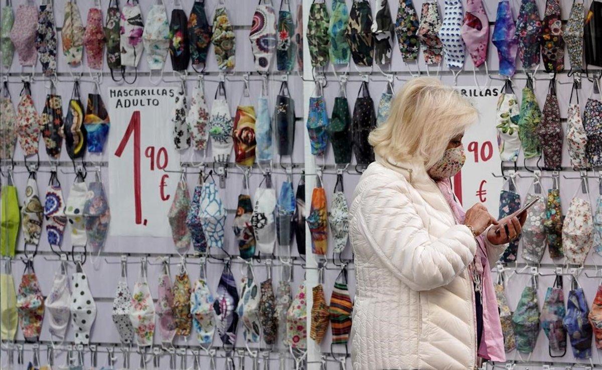 Tienda de mascarillas en el centro de Madrid.