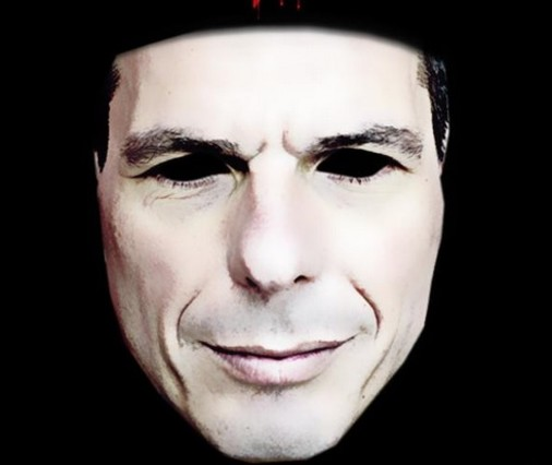 Meme de Varoufakis emulando la máscara de la película V de Vendetta.
