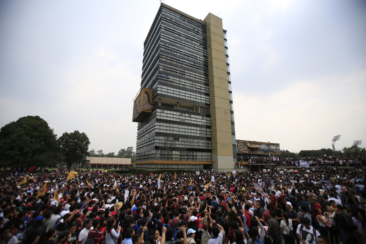 Thousands of students at Mexico s National Autonomous University protest to demand an end to violence by groups of thugs known as  porros   who are often registered but don t attend classes  at the University s main campus in Mexico City  Wednesday  Sept  5  2018  Students at Mexico s largest university have gone on strike after a campus attack against protestors on Monday  in which two students were seriously injured   AP Photo Rebecca Blackwell.