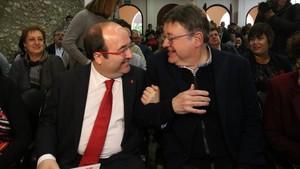 Miquel Iceta y Ximo Puig, este viernes en Amposta.