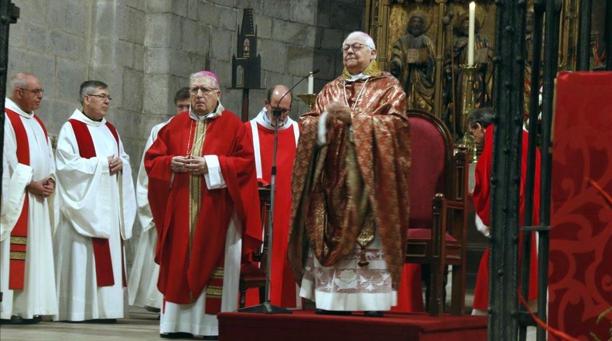 El obispo de Girona, Francesc Pardó, durante su homilía de Sant Narcís.