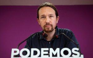 Pablo Iglesias, en rueda de prensa tras las elecciones del 26-M.