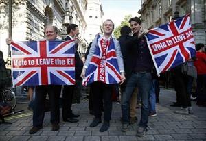 Partidarios del brexit, en Londres, el pasado 24 de junio.