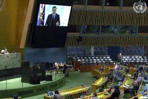 Pedro Sánchez, durante su discurso en la Asamblea General de Naciones Unidas via 'on line' desde Madrid.