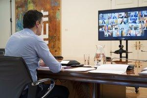 Pedro Sánchez, durante la videoconferencia con los presidentes autonómicos.