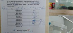 La nota que dejó la dueña de Pesesín y la pecera.