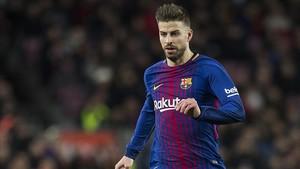 Piqué, en el derbi copero ante el Espanyol en el Camp Nou.