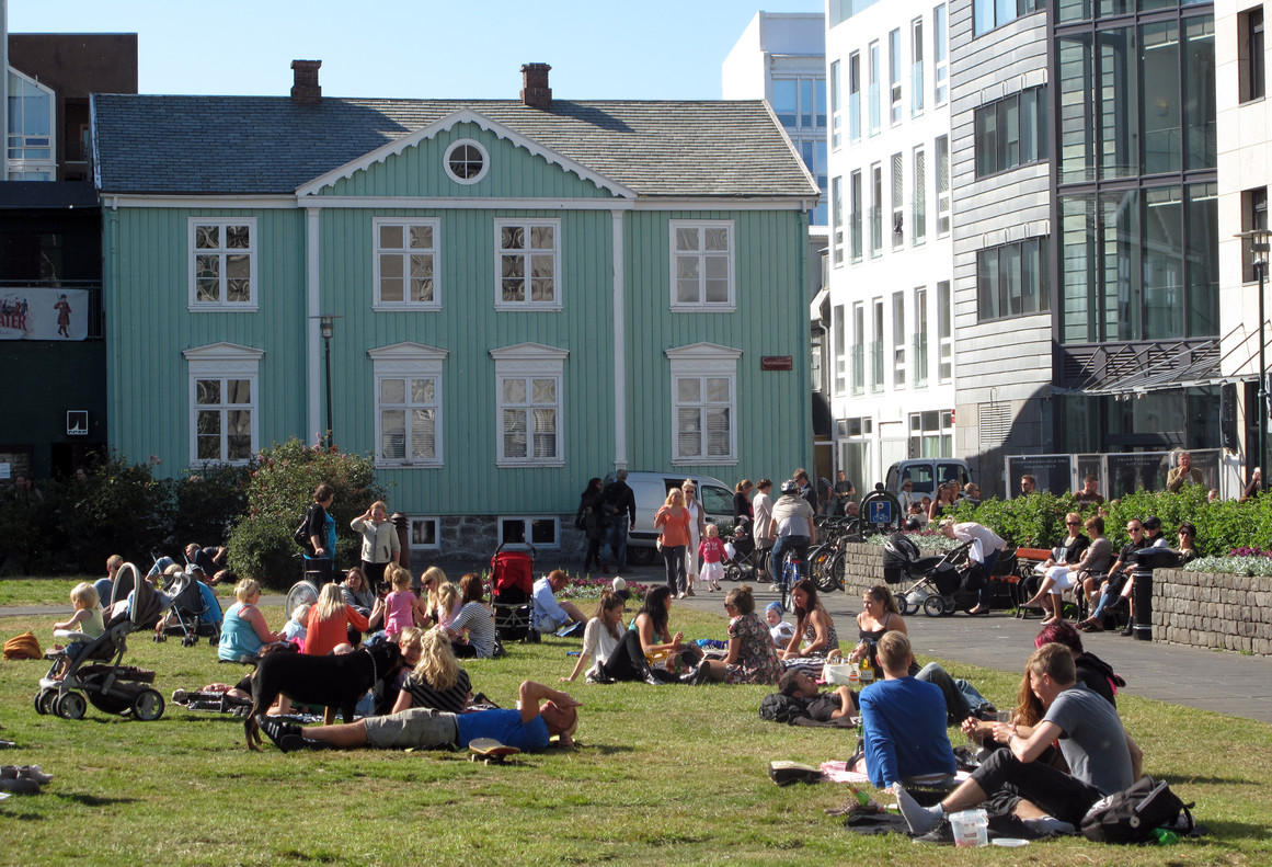 La plaza del Parlamento de Reykiavik.
