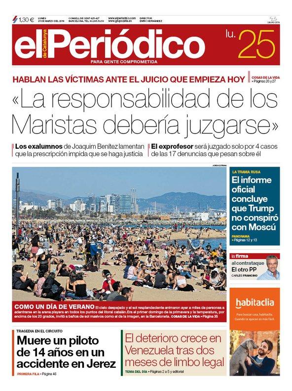La portada de EL PERIÓDICO del 25 de marzo del 2019