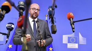 El primer ministro belga, Charles Michel, a la conclusión de un encuentro sobre migración en la sede de la UE en Bruselas, el pasado junio.