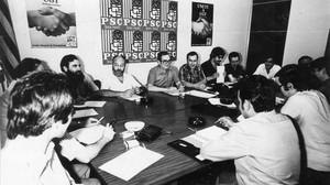 Primera reunión de la primera ejecutiva del PSC, en julio de 1978.