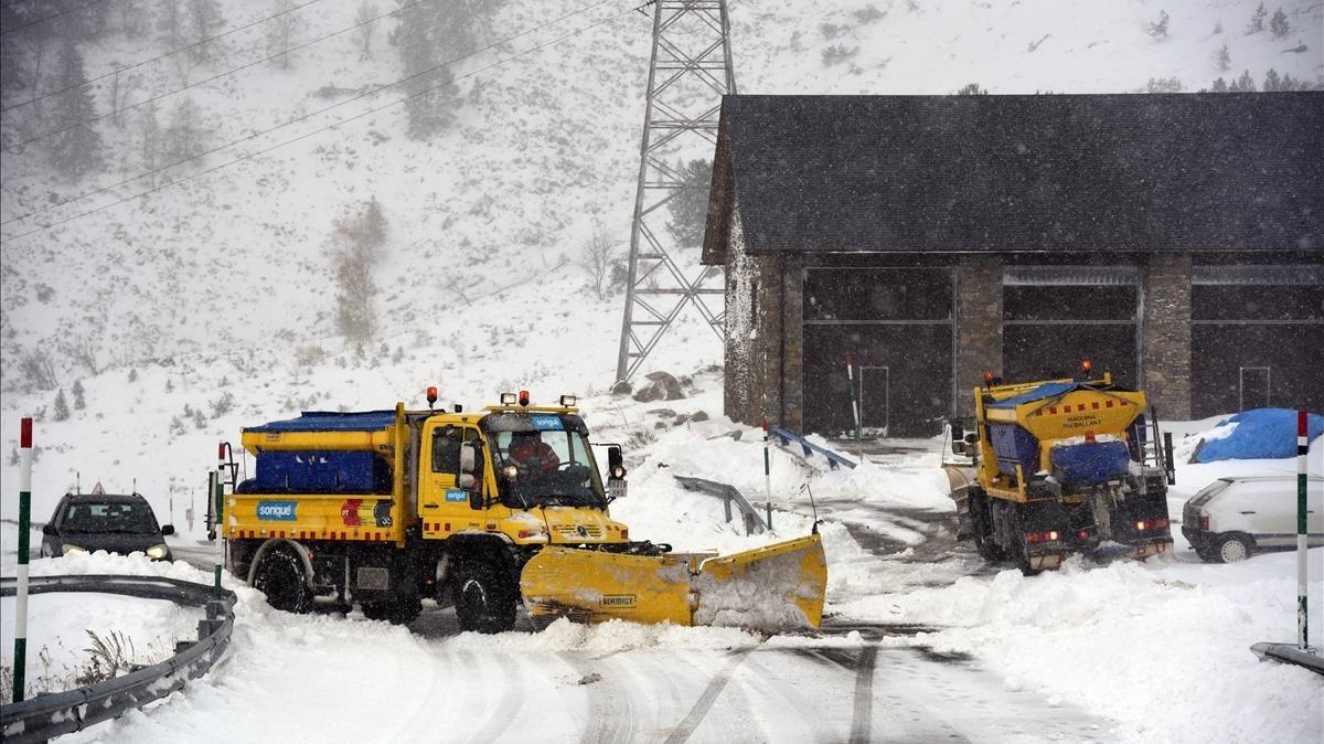 Primeras nevadas en el puerto de la Bonaigua.