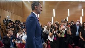El rey Felipe VI, en la apertura del curso universitario en el Paraninfo de la Universitat Politècnica de València.