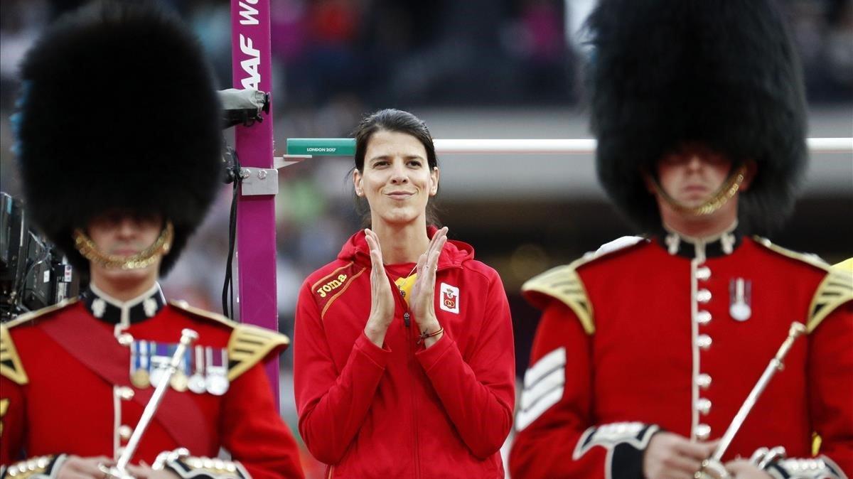 Ruth Beitia, durante la presentación de la final de salto de altura en los Mundiales de Londres 2017.