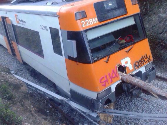 Tren de Barcelona a Puigcerdà de la línia R-3, al seu pas per la Garriga, aquest dimarts, després de descarrilar per culpa dun arbre caigut pel fort vent.