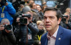 Tsipras a su llegada a la negociación de la financiación por parte de Europa.