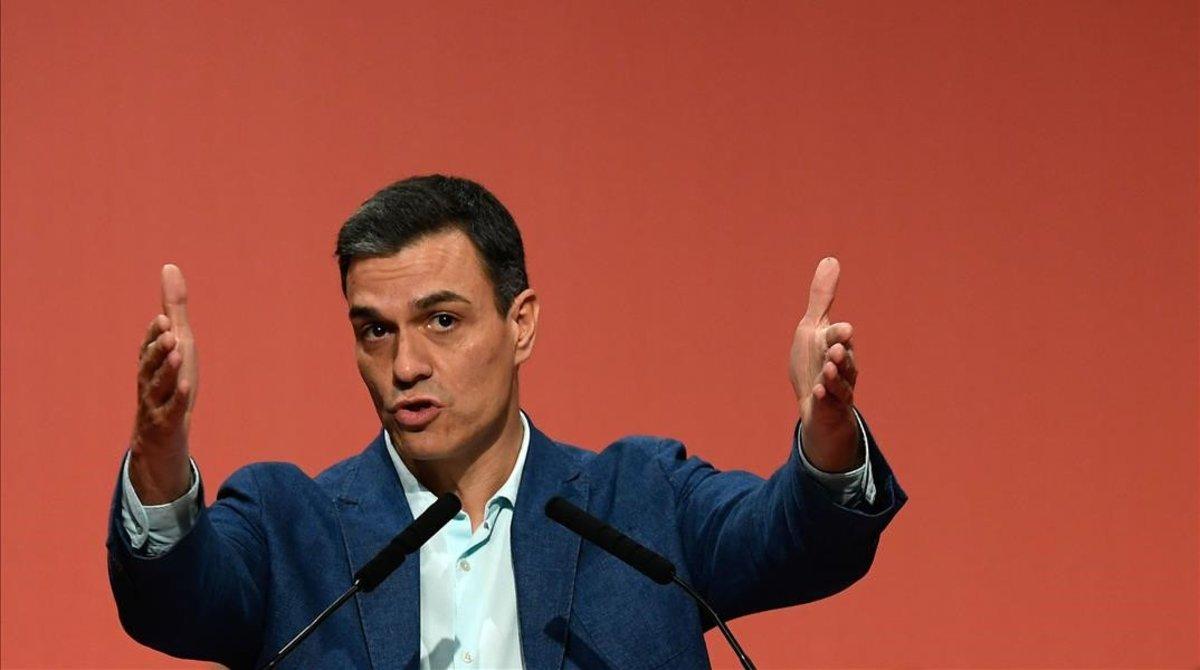 Pedro Sánchez, este jueves en Badalona.