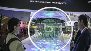 Estand de ciberseguridad en el Mobile World Congress de Barcelona.