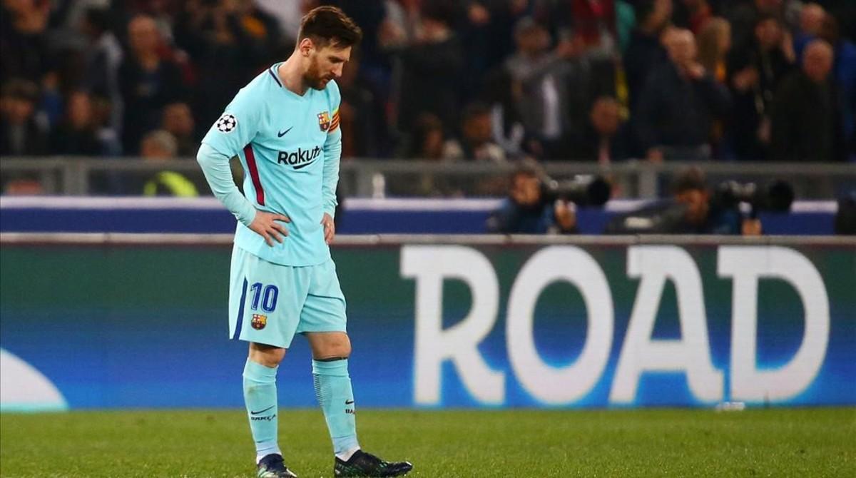 Messi, el día de la fatídica eliminación en Roma que acabó con sus aspiraciones en el premio de la UEFA.