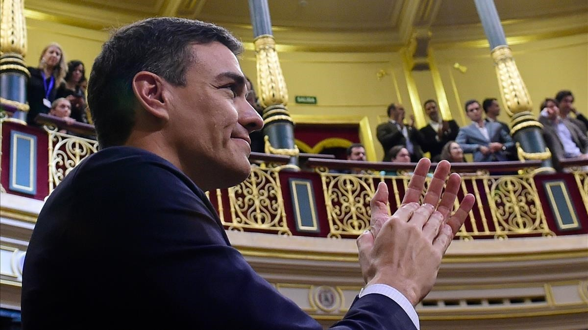 Sánchez, tras la votación del Congreso.