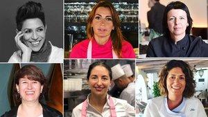 De izquierda a derecha, las cocineras Dominique Crenn, Begoña Rodrigo, Fina Puigdevall, Aizpea Oihaneder, Elena Arzak y Maca de Castro.