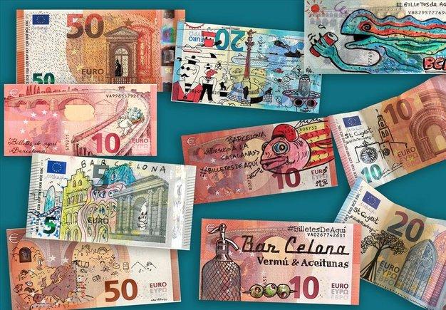 Una decena de #BilletesDeAquí tuneados con detalles de Barcelona y Sant Cugat.