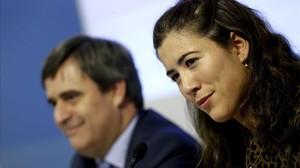La tennista Garbiñe Muguruza i el secretari dEstat per a lEsport, Miguel Cardenal.