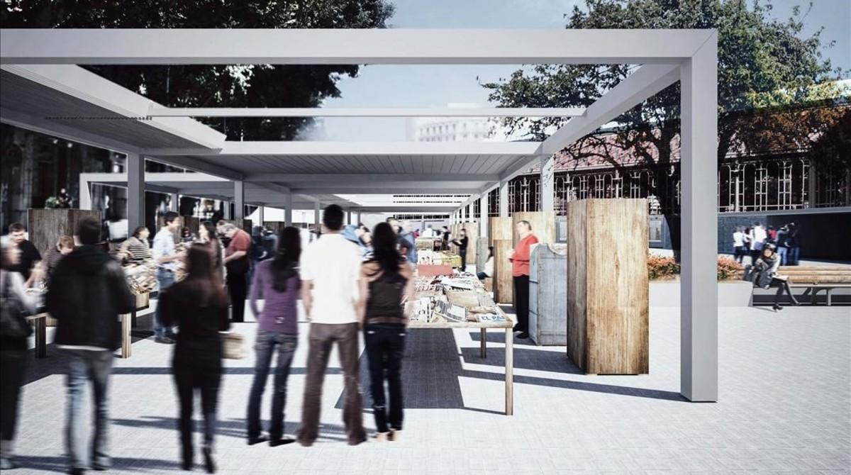 Imagen virtual del aspecto futuro del entorno del mercado de Sant Antoni.