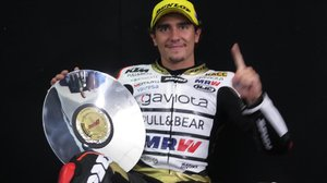 Albert Arenas, en la sala de prensa de Phillip Island (Australia) tras conseguir la victoria en Moto3.