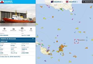 Imagen de la aplicación Vessel Finder que permite seguir al Aquarius.