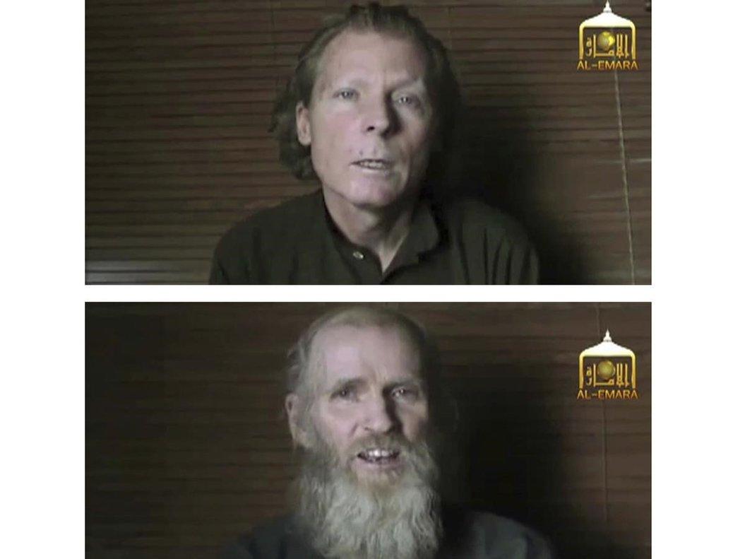 El australiano Timothy Weekes (arriba) y el estadounidense Kevin King, secuestrados por los insurgentes en Afganistán en agosto del 2016.