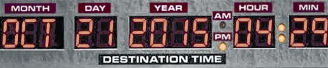EFEMÉRIDE. El reloj que indica la fecha exacta del regreso al futuro en la película.