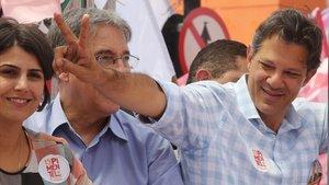 Fernando Haddad,candidato a la presidenciapor el Partido de los Trabajadores, en un acto electoral el viernes enBelo HorizonteMinas Gerais.