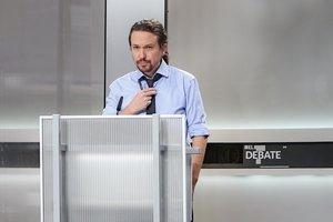 El candidato de Unidas Podemos, Pablo Iglesias, en el debate electoral a cinco.