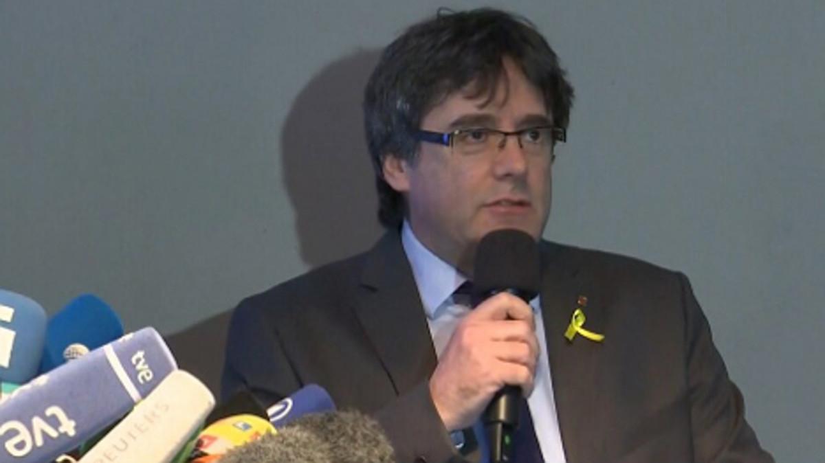 Carles Puigdemont, en rueda de prensa en Berlín