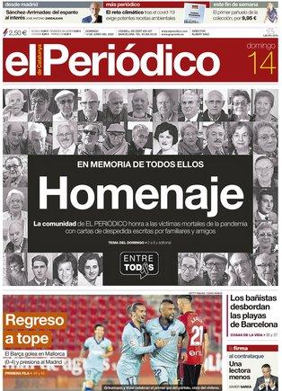La portada d'EL PERIÓDICO del 14 de juny del 2020