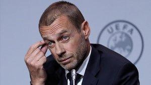 Ceferin, el presidente de la UEFA, durante una rueda de prensa en Amsterdam.