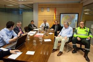 El comité de crisis, con Zoido ySerrrano, en la reunión mantenida...el lunes.
