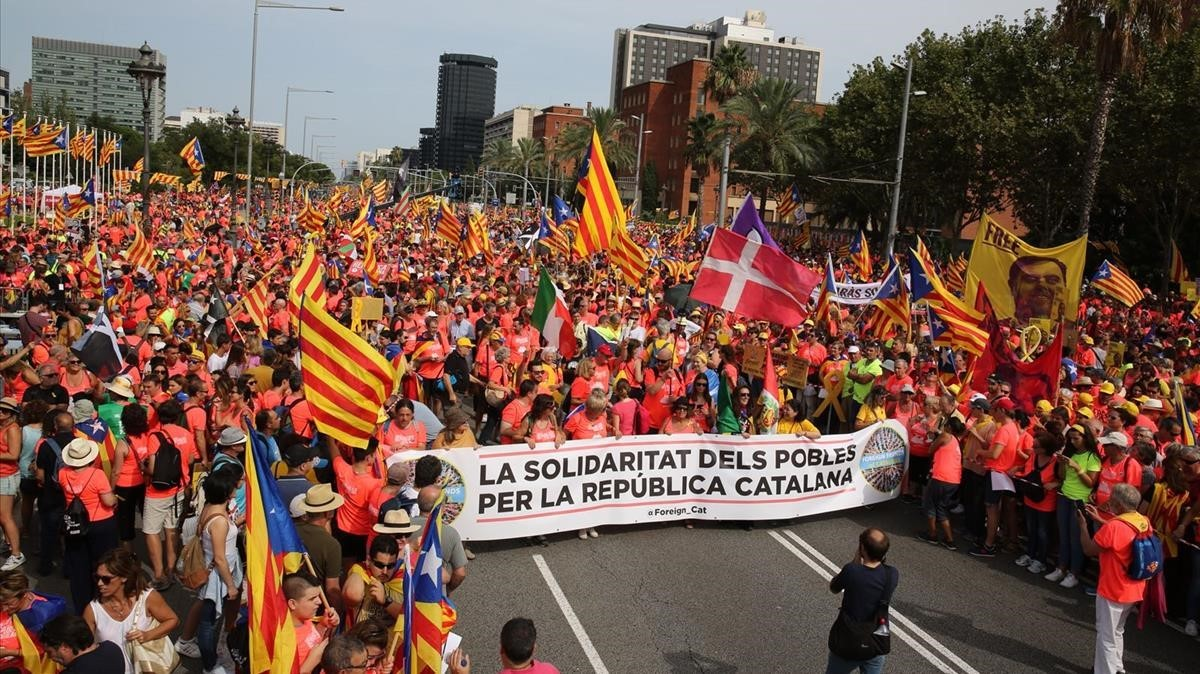 La Diada en la Diagonal de Barcelona, el pasado 11 de septiembre.