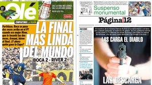 Las primeras páginas del diario Olé y Página/12.
