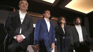 El expresidente Ciudadanos, Albert Rivera,junto a Luis Garicano,Soraya Rodriguez y Adrián Vázquez Lara durante un acto.